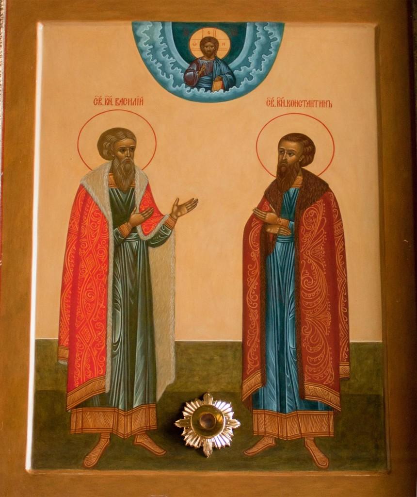 Икона благоверных князьев Василия и Константина Ярославских с частицами их мощей