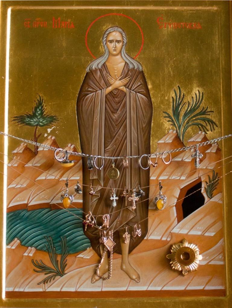 Икона преподобной Марии Египетской с частицей ее мощей
