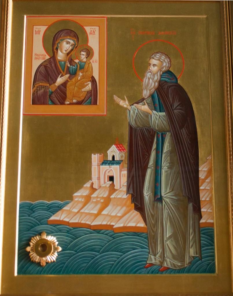 Икона преподобного Гавриила Святогорца (Афонского) с частицей его мощей